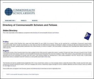 Online Directory of Commonwealth Scholars and Fellows