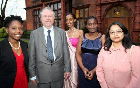 (l-r) Dacia Leslie (Commonwealth Scholar from Jamaica), Professor Jonathan Osmond (Pro Vice Chancellor for Education and Students, Cardiff University), Josephine Murangira (Commonwealth Scholar from Rwanda), Idesi Temwa Chilinda (Commonwealth Scholar from Malawi), and Sawlat Zaman (Commonwealth Scholar from Bangladesh). Photo supplied by Cardiff University's International Office