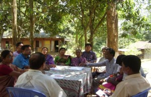 Sharing plans to improve school management with school teachers in Panihata village, Sherpur, Bangladesh