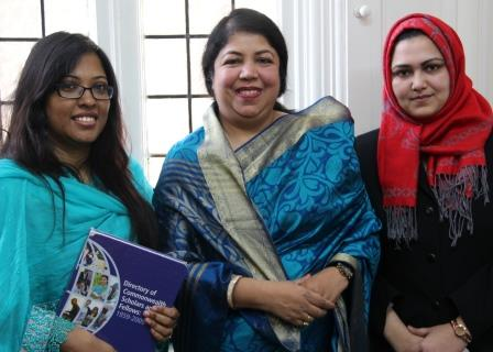 Current Commonwealth Scholars Dr Shaheda Anwar (l) and Dr Masuma Pervin Mishu (r) with Shirin Sharmin Chaudhury (centre)