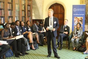 Richard Middleton, Chair of the CSC, and Commonwealth Scholars at the 2015 Parliamentary reception