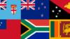 Flags of Fiji, New Zealand, Papua New Guinea, Samoa, South Africa, Sri Lanka