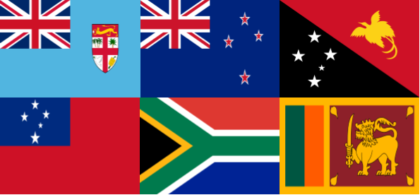 Flags of Fiji, New Zealand, Papua New Guinea, Samoa, South Africa, Sri Lanka