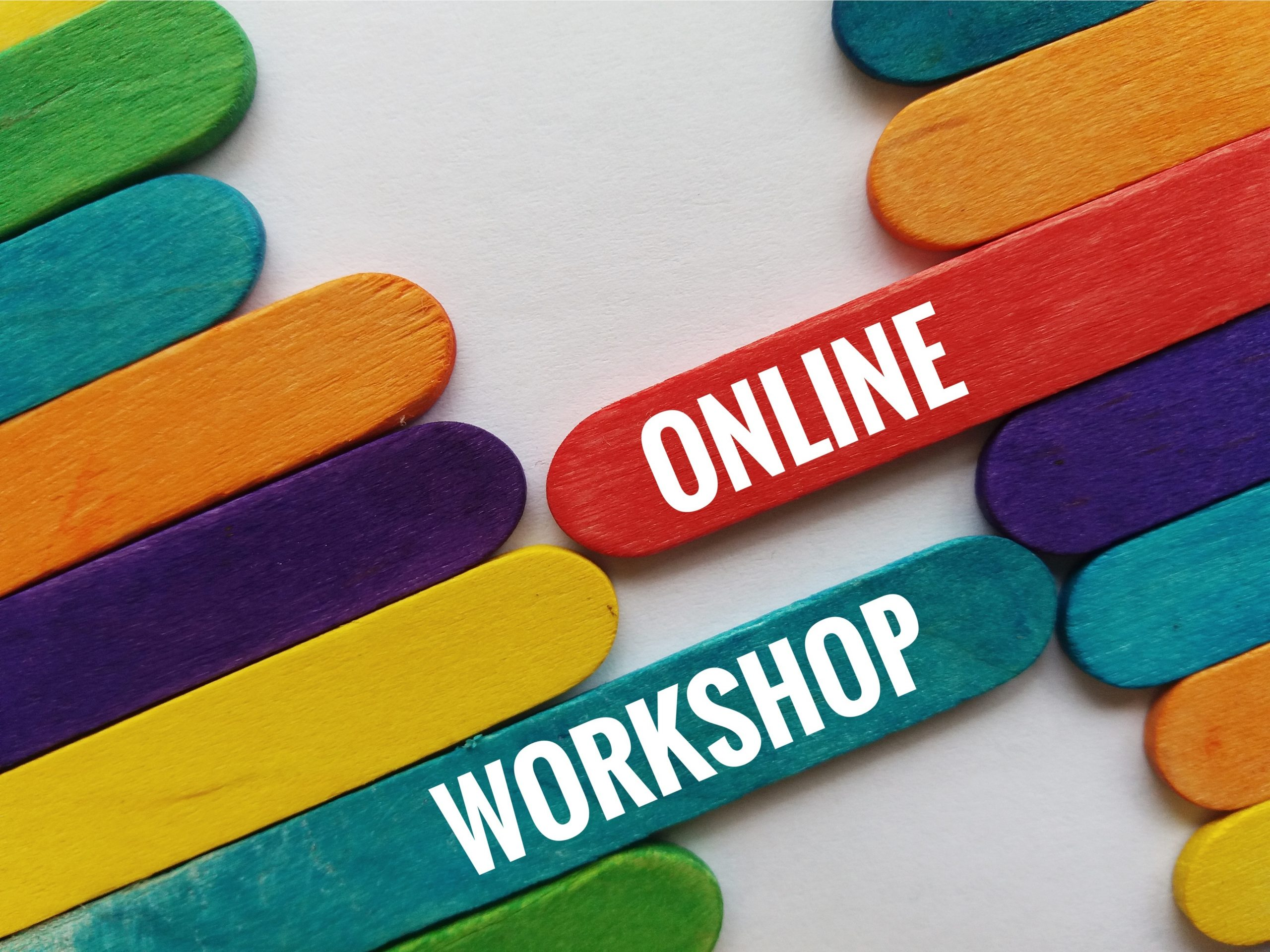 Colourful ice cream sticks and words ONLINE WORKSHOP on the white background.