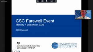 Video conference showing presentation slide and presenter Richard Middleton
