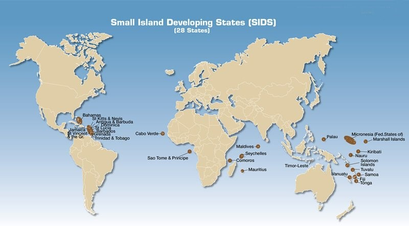 A map that shows Small Island Developing states (SIDS)