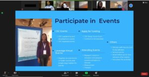 Video conference screen showing presentation slide and participant faces