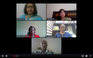 Video conference screen with Alumni panel members