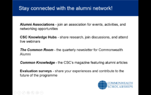 Presentation slide with text: 'Stay connected with the alumni network!'