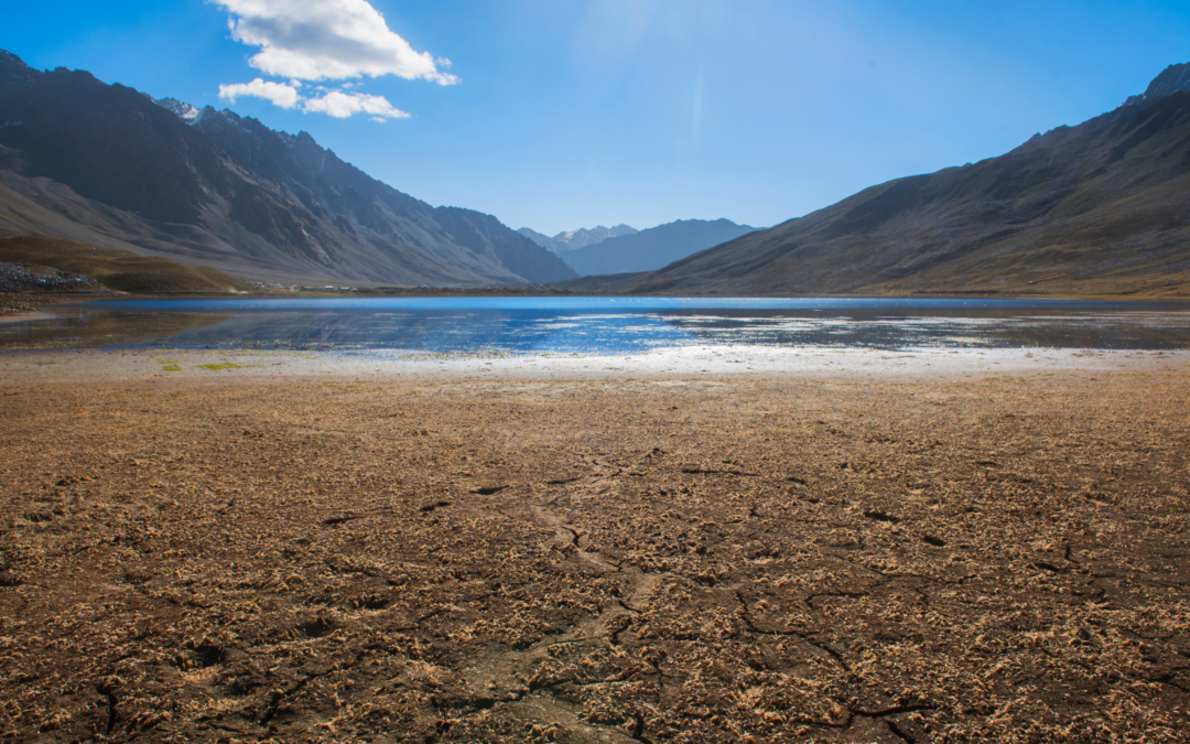 Dry, cracked soil landscape with receding lake and mountains in background.